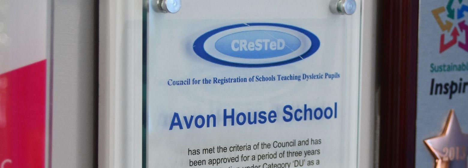 Avon House School Certification on Wall
