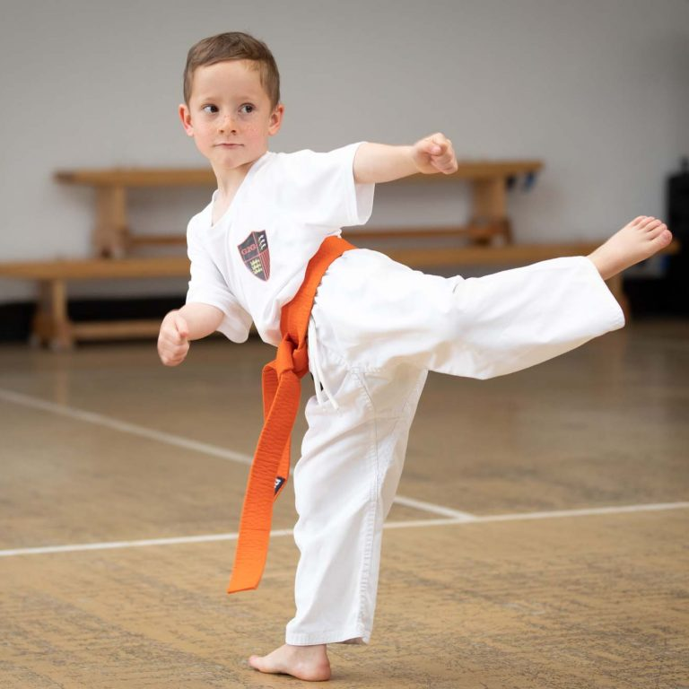 child learning karate